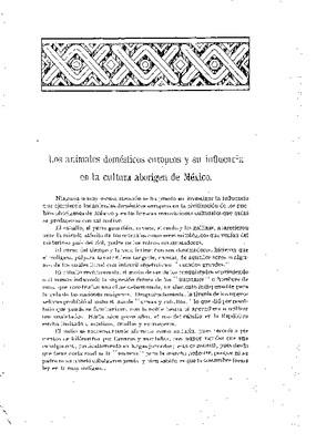 Los animales domésticos europeos y su influencia en la cultura aborigen de México.