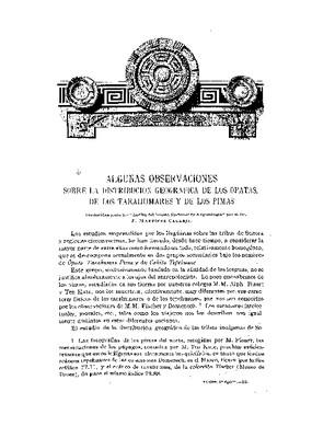 Algunas observaciones sobre la distribución geográfica de los opatas, de los tarahumaras y de los pimas