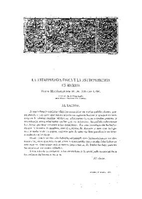 La antropología física y la antropometría en México, notas históricas
