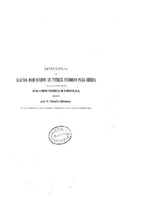 Breve noticia de algunos manuscritos de interés histórico para México, que se encuentran en los archivos y bibliotecas de Washington, D. C.