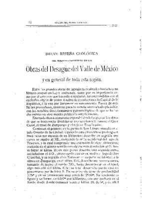 Breve reseña geológica del terreno comprendido en las obras del desagüe del valle de México.