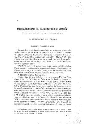 Códices Mexicanos de fray Bernardino de Sahagún. Descripción de los códices.