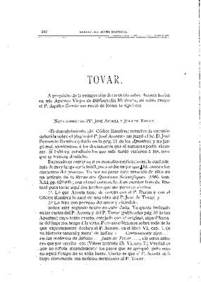 Nota sobre los padres José Acosta y Juan de Tovar.