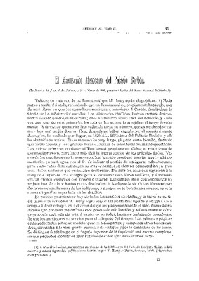El manuscrito mexicano del Palacio Borbón