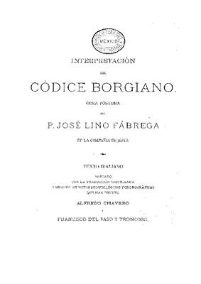 Interpretación del Códice Borgiano.