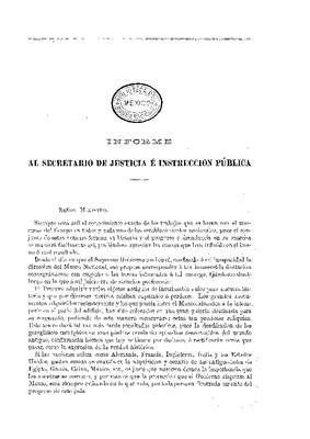 Informe al Secretario de Justicia e Instrucción Pública sobre las actividades del Museo Nacional.