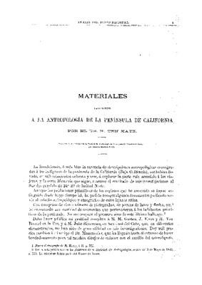 Materiales para servir a la antropología de la Península de California.