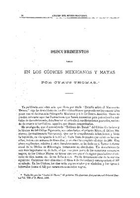 Descubrimientos hechos en los códices mexicanos y mayas.