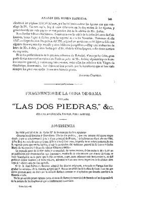 """Fragmentos de la obra de Gama: """"Las dos piedras"""", con una advertencia y notas de Jesús Sánchez."""