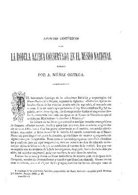 Apuntes históricos sobre la rodela azteca del Museo Nacional.