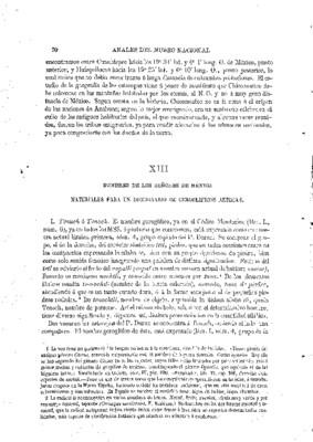 Ensayo de descifración geroglífica. XIII.- Nombre de los señores de México. Materiales para un diccionario de geroglíficos aztecas.