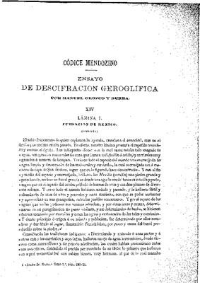 Ensayo de descifración geroglífica. XIV.- Fundación de México.