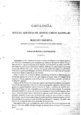Geología.- Noticias geológicas de algunos caminos nacionales.