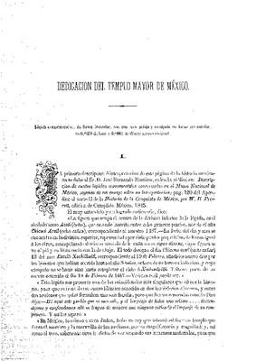 Dedicación del Templo Mayor de México.