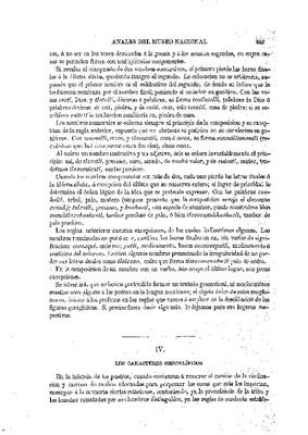 Ensayo de descifración geroglífica. IV.- Los caracteres geroglíficos.