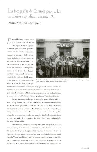 Las fotografías de Casasola publicadas en diarios capitalinos durante 1913