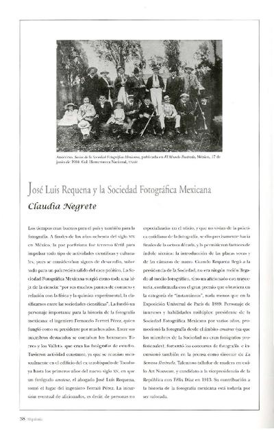 José Luis Requena y la Sociedad Fotográfica Mexicana