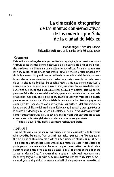 La dimensión etnográfica de las mantas conmemorativas de los muertos por Sida de la ciudad de México