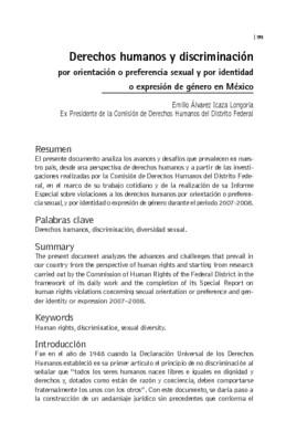 Derechos humanos y discriminación por orientación o preferencia sexual y por identidad o expresión de género en México