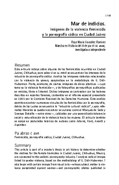 Mar de indicios. Imágenes de la violencia feminicida y la pornografía sádica en Ciudad Juárez