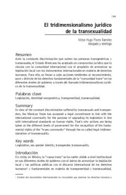 El tridimensionalismo jurídico de la transexualidad