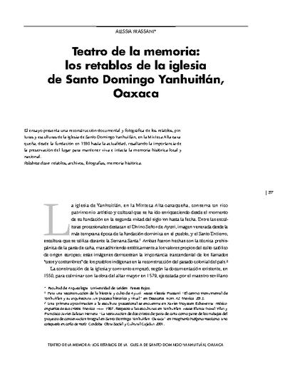 Teatro de la memoria: los retablos de la iglesia de Santo Domingo Yanhuitlán, Oaxaca