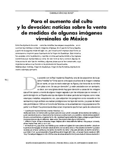 Para el aumento del culto y la devoción: noticias sobre la venta de medidas de algunas imágenes virreinales de México