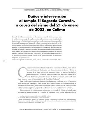 Daños e intervención al templo El Sagrado Corazón, a causa del sismo del 21 de enero de 2003, en Colima