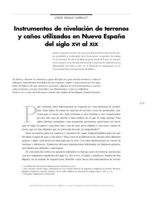 Instrumentos de nivelación de terrenos y caños utilizados en Nueva España del siglo XVI al XIX