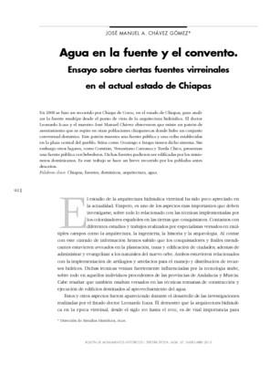 Agua en la fuente y el convento. Ensayo sobre ciertas fuentes virreinales en el actual estado de Chiapas