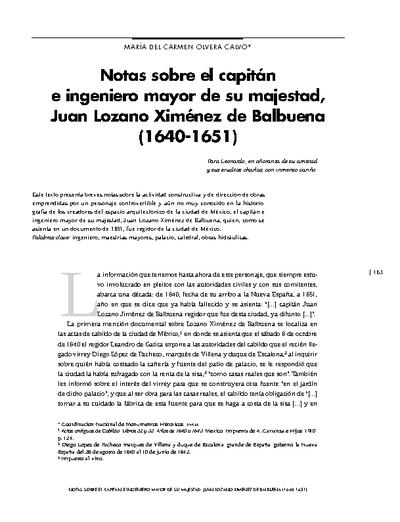 Notas sobre el capitán e ingeniero mayor de su majestad, Juan Lozano Ximénez de Balbuena (1640-1651)