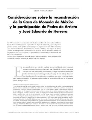 Consideraciones sobre la reconstrucción de la Casa de Moneda de México y la participación de Pedro de Arrieta y José Eduardo de Herrera