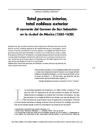 Total pureza interior, total nobleza exterior. El convento del Carmen de San Sebastián en la ciudad de México (1585-1630)