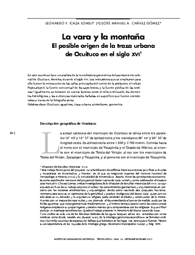La vara y la montaña. El posible origen de la traza urbana de Ocuituco en el siglo XVI