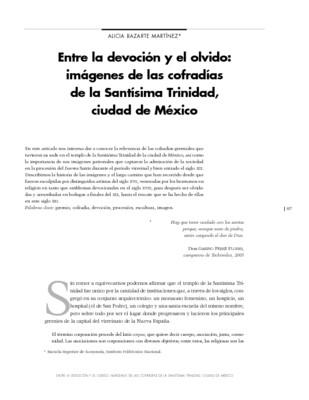 Entre la devoción y el olvido: imágenes de las cofradías de la Santísima Trinidad, ciudad de México