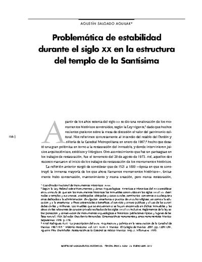 Problemática de estabilidad durante el siglo XX en la estructura del templo de la Santísima