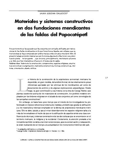 Materiales y sistemas constructivos en dos fundaciones mendicantes de las faldas del Popocatépetl
