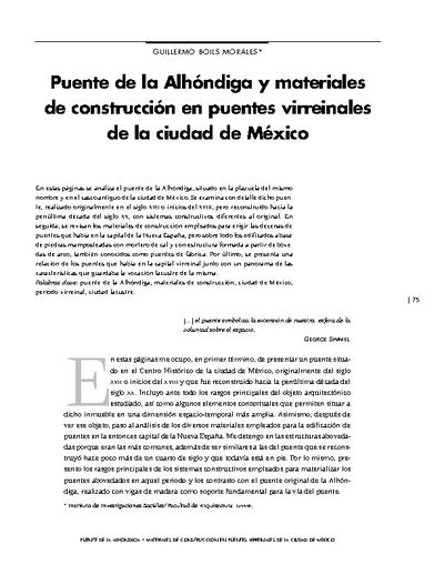 Puente de la Alhóndiga y materiales de construcción en puentes virreinales de la ciudad de México