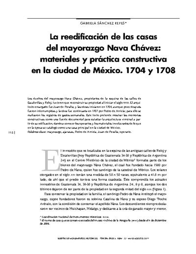 La reedificación de las casas del mayorazgo Nava Chávez: materiales y práctica constructiva en la ciudad de México. 1704 y 1708