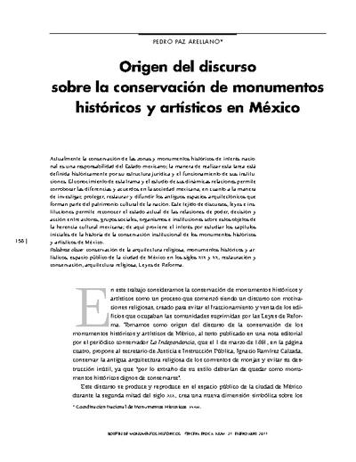 Origen del discurso sobre la conservación de monumentos históricos y artísticos en México