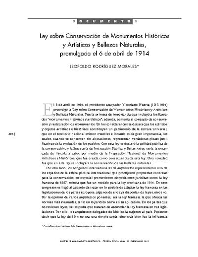 Ley sobre Conservación de Monumentos Históricos y Artísticos y Bellezas Naturales, promulgada el 6 de abril de 1914