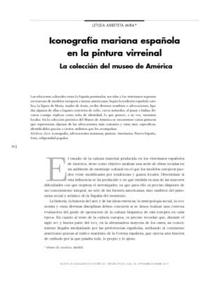 Iconografía mariana española en la pintura virreinal. La colección del Museo de América, I