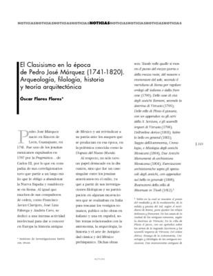 El Clasisismo en la época de Pedro José Márquez (1741-1820). Arqueología, filología, historia y teoría arquitectónica