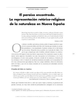 El paraíso encontrado. La representación retórico-religiosa de la naturaleza en Nueva España.