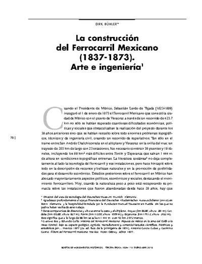 La construcción del Ferrocarril Mexicano (1837 - 1873). Arte e ingeniería.