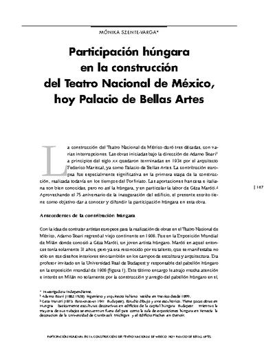 Participación húngara en la construcción del Teatro Nacional de México, hoy Palacio de Bellas Artes.