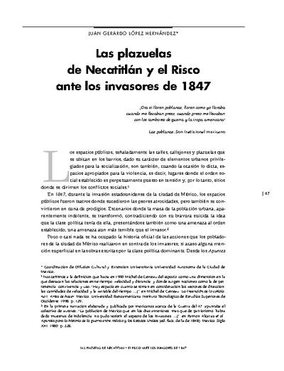 Las plazuelas de Necatitlán y el Risco ante los invasores de 1847