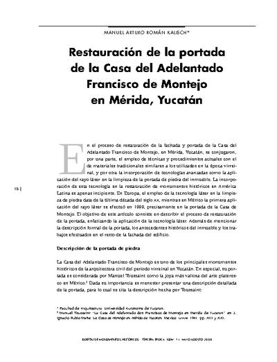 Restauración de la portada de la Casa del Adelantado Francisco de Montejo en Mérida, Yucatán