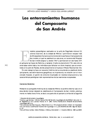 Los enterramientos humanos del Camposanto de San Andrés