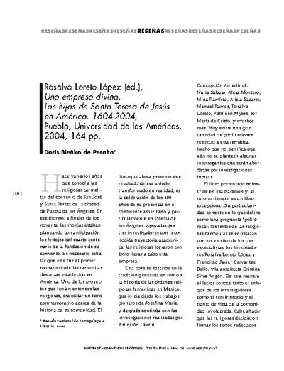 Rosalva Loreto López (ed.), Una empresa divina. Las hijas de Santa Teresa de Jesús en América, 1604-2004, Puebla, Universidad de las Américas, 2004, 164 pp.
